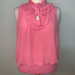 Beautiful pink tiered ruffle neckline blouse